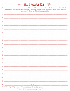 Book Bucket List printable. Whether you want to Travel the World in Books, visit literary destinations or meet authors in real life, make time to read and create your own Book Bucket List and achieve those reading goals!