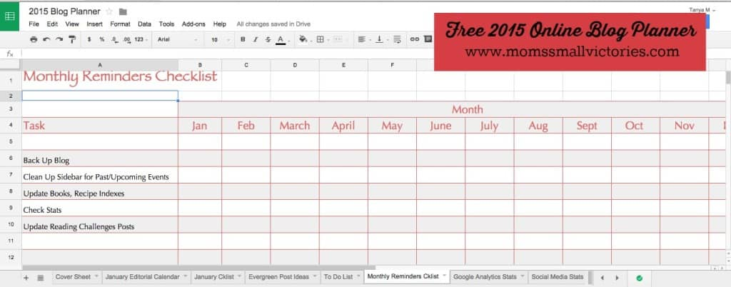 Monthly Reminders Checklist in our Free 2015 online blog planner can be used in Google Drive, Excel or printed