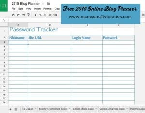 Password Tracker in our Free 2015 online blog planner can be used in Google Drive, Excel or printed
