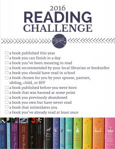 25 Reading Challenges to Unleash Your Inner Bookworm. Modern Mrs. Darcy has a 2016 reading challenge with fun categories to choose from and a free printable checklist to help you track your progress.