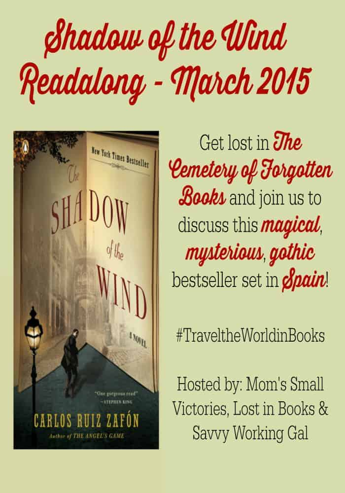 Shadow of the Wind by Carlos Ruiz Zafon. Join our Travel the World in Books Reading Challenge as we travel to Spain and the Cemetery of Forgotten Books. Discuss this magical, mysterious, magical and gothic bestseller.
