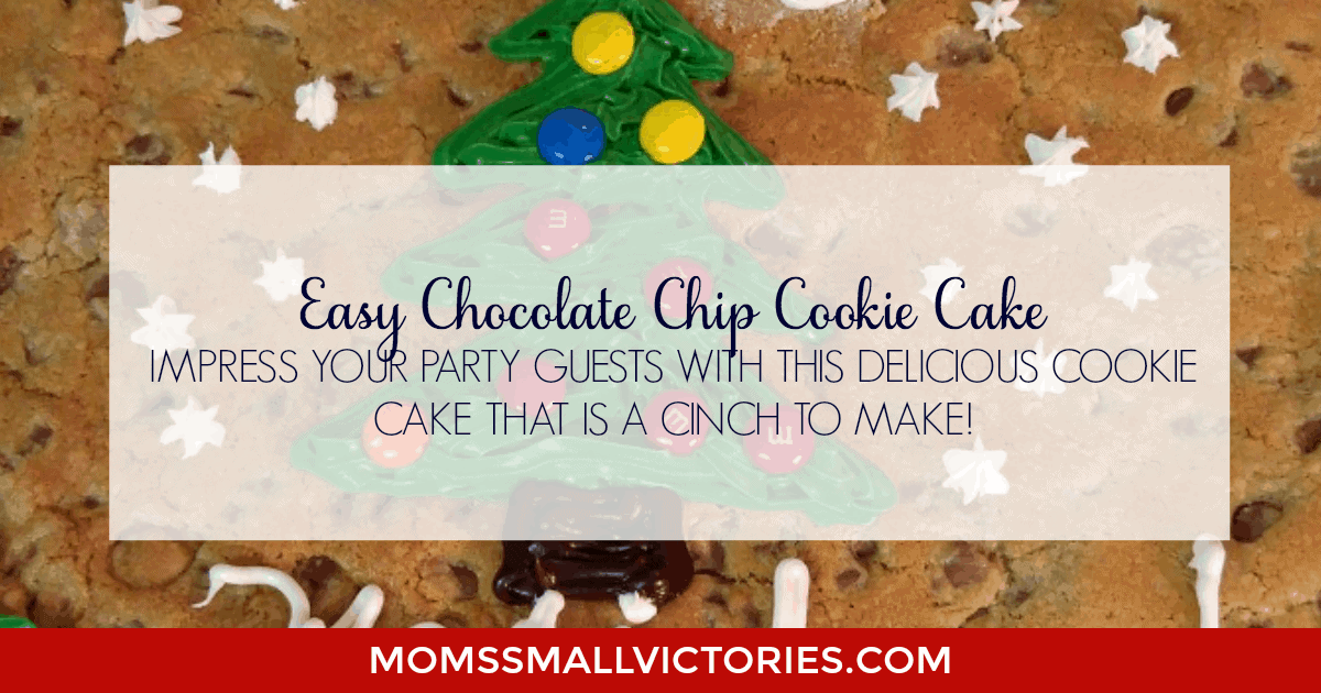 Easy Chocolate Chip Cookie Cake. Impress your holiday and party guests with this delicious cookie cake that is a cinch to make.