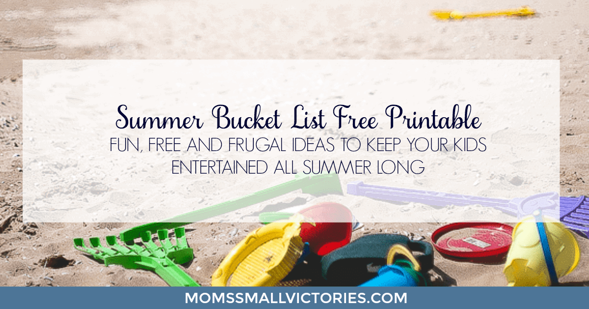 Grab your Summer Bucket List  Free Printable full of fun, free and frugal ideas to keep your kids entertained all summer long.