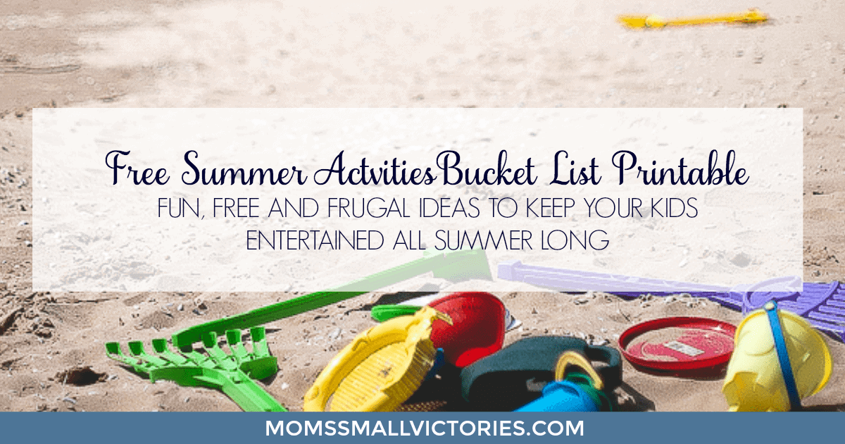 Free Summer Activities Bucket List Printable. Fun, free and frugal ideas to keep your kids entertained all summer long!