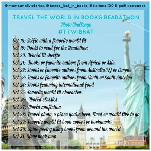 Travel the World in Books Readathon Instagram Photo Challenge. Join us October 18-31, 2015 for the readathon and share pictures of your favorite books and authors from around the world.