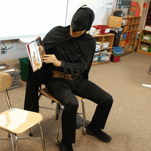 My Superhubby dressed as Batman to read I am Jackie Robinson for my middle son's boys book club. #SuperheroesRead, don't you think?
