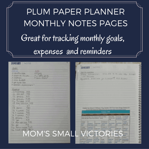 Plum Paper Planner Monthly Note Pages at the start and end of each month are great for tracking monthly goals, expenses and reminders.