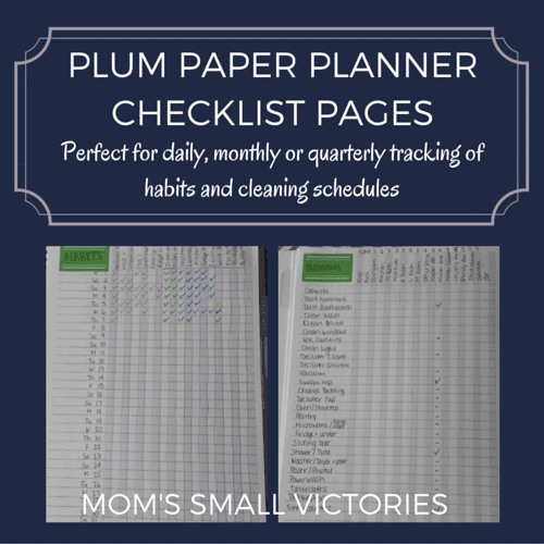 Plum Paper Planner Checklist Pages are perfect for daily, monthly or quarterly tracking habits and cleaning schedules.