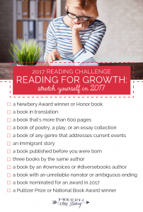 Modern Mrs. Darcy has a Reading Challenge for Fun and a Reading Challenge for Growth which are one of our 25 Reading Challenges to Unleash Your Inner Bookworm.