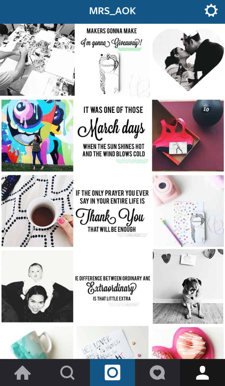 Mrs_AOK on Instagram Feb-Mar spread. Creating your unique IG style makes your account and brand memorable and recognizable.