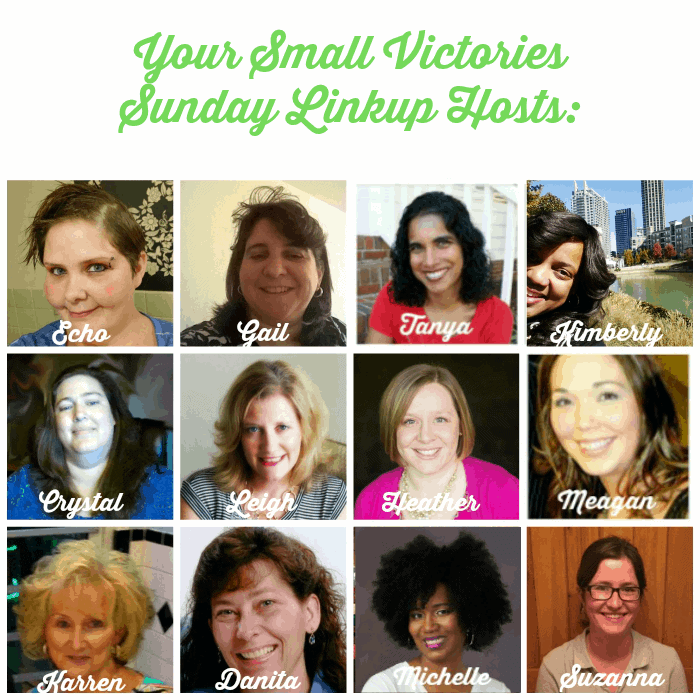 Your Small Victories Sunday Linkup Hosts: Mom's Small Victories, Sunshine and Sippy Cups, The Mad Mommy, Frugal & Coupon Crazy, Keystrokes by Kimberly, Tidbits of Experience, Hines-Sight Blog, Simply Save, Oh My Heartsie Girl, O Taste and See, and One Hoolie Mama