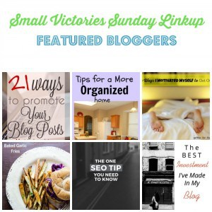 Small Victories Sunday Linkup {94} Featured Bloggers: 21 Ways to Promote Your Blog Post from Lamberts Lately, Tips for a More Organized Home from Daily Momtivity, 4 Ways I Motivated Myself to Get Out of Bed from The Mad Mommy, Baked Garlic Fries from Sidewalk Shoes, The One SEO Tip You Need to Know from Blog-Rite & The Best Investment I've Made in My Blog from The Art of Why Not