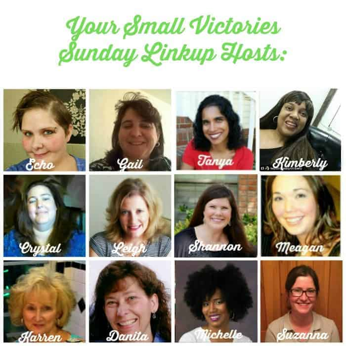 Your Small Victories Sunday Linkup Hosts: Mom's Small Victories, Sunshine and Sippy Cups, The Mad Mommy, Frugal & Coupon Crazy, Keystrokes by Kimberly, Tidbits of Experience, Hines-Sight Blog, Daily Momtivity, Oh My Heartsie Girl, O Taste and See, and One Hoolie Mama
