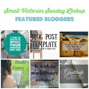 Small Victories Sunday Linkup 99 Featured Bloggers: 10 Things You Can Do to Improve Your Finances Right Now by Simply Save, Blog Post Template: Why and How to Make One by Morgan Manages Mommyhood, 5 Things A Mom Should Have With Her at All Times by Daily Momtivity, 10 Books Every White Person Should Read by Based on a True Story, Tip Friday: Health Facts about Onions by Marilyn's Treats, What is a Gratitude Journal & A Free Printable by Krafty Owl.