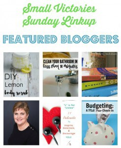 Small Victories Sunday Linkup 108 Featured Bloggers: