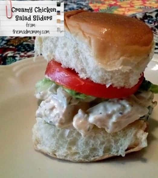 Creamy Chicken Salad Sliders from The Mad Mommy, a delicious way to use up leftover rotisserie or shredded chicken.