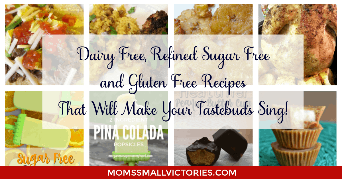 8 Dairy, Refined Sugar and Gluten Free Recipes that Will Make Your Tastebuds Sing. Being on a restricted diet does not mean food has to be bland. These easy and delicious recipes are sure to please your tastebuds and your kids will love it too!