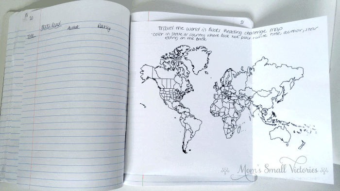 Book Tracker and Travel the World in Books Reading Challenge map in our summer bullet journal for kids. Encourage kids to learn about different countries and cultures as they read around the world in books. Each time they complete a book, color the corresponding location on the map. The more they read, the more colorful the map.
