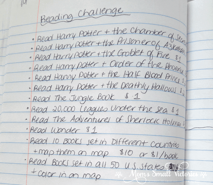 Reading Challenge in our summer bullet journal for kids. I try to select books outside their comfort zone or to improve their reading ability.