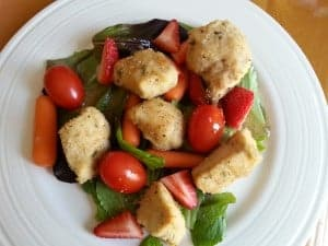 chicken ceasar salad with strawberries