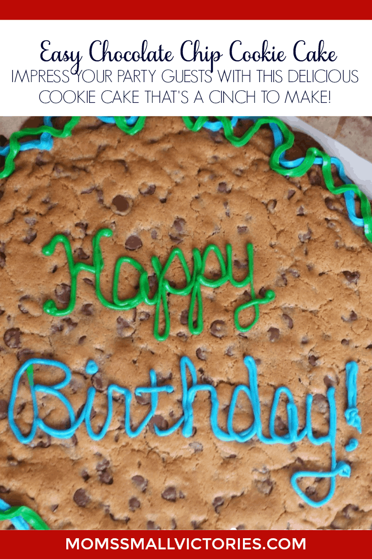 Easy Chocolate Chip Cookie Cake. Impress your party guests with this delicious cookie cake that is a cinch to make. A sure crowd pleaser for your next birthday, Christmas, holiday or potluck celebration.