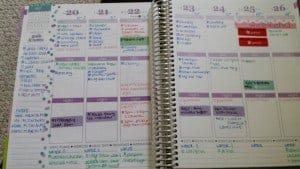 A peek inside my Erin Condren Planner. Color coded: blue for to do list, green for meal planning, pink for gratitude, red for appointments and purple for my blog work.