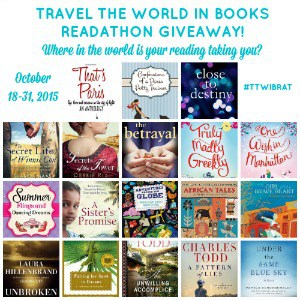 Travel the World in Books Readathon Oct 2015 Giveaways! Sign up and enter to win one of 18 great books from around the world.