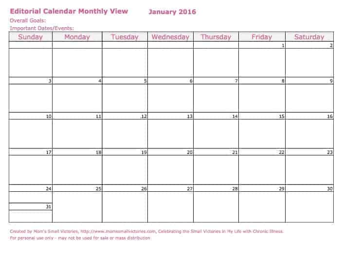 12 Monthly Editorial Calendars in my free 2016 blog planner. Jot down your monthly goals, important dates & events, blog post ideas, chat and webinar schedules for your blog. Available for download to Google Drive, Excel or PDF.