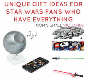 Unique Gift Ideas for Star Wars Fans who have Everything. Bluetooth speakers, realistic lightsabers, Legos, tools in the kitchen and planners and journals for the ultimate Star Wars fan.