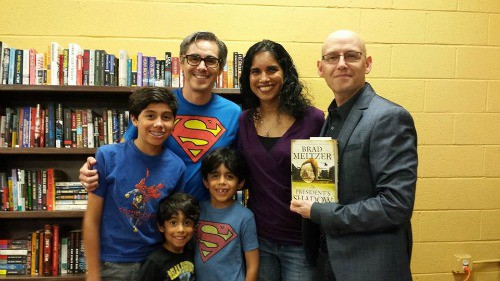 My boys and I loved meeting Brad Meltzer, author of Justice League comics and graphic novels, the Ordinary Heroes children's book series and political thrillers. He made us laugh and cry as he thanked the teachers that inspired him to write the Ordinary Heroes children's book, I am Helen Keller.
