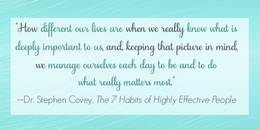 Inspiration from Dr. Stephen Covey from The 7 Habits of Highly Effective People to focus on the goals and tasks that matter the most to you everyday.