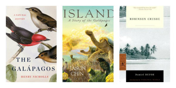 Books set on South American Islands: The Galapagos: A Natural History, Island: A Story of the Galapagos, and Robinson Crusoe