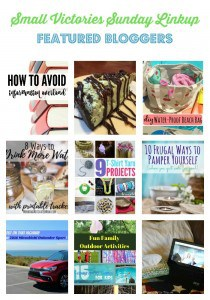 Small Victories Sunday Featured Bloggers 112: How to Avoid Information Overload by Morgan Manages Mommyhood, Grasshopper Thin Mint Cheesecake from Marilyn's Treats, DIY Waterproof Swim Bag from Dazzled While Frazzled, 8 Ways to Drink More Water by Morning Motivated Mom, 9 T-shirt Yarn Project Ideas from The Crafty Blog Stalker, 10 Frugal Ways to Pamper Yourself from Quirky Inspired, Mistubishi Sport from The Mad Mommy, Fun Family Outdoor Activities from Sharing Life's Moments and Is there a Doctor in the House? from O Taste and See