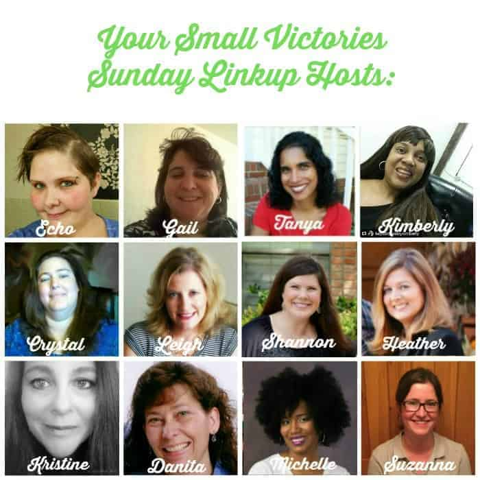 Small Victories Sunday Linkup Hosts: Echo from The Mad Mommy, Gail from Frugal & Coupon Crazy, Crystal from Sharing Life's Moments, Leigh from Hines-Sight Blog, Shannon from Daily Momtivity, Heather from Country Life, City Wife, Kristine from A Life Well Red, Danita from O Taste and See, Michelle from Divas with a Purpose, Suzanna from One Hoolie Mama.