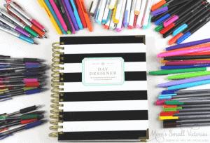 Day designer planner review pen test showing Day Designer planner cover and 8 brands of pens tested: Zebra Sarasa, Pilot G-2, Pentel Liquid Energy, Papermate Flair, Zebra Mildliner highlighters, Papermate Inkjoy Gel pens, Sharpie pens, and Staedler Triplus Fineliners.