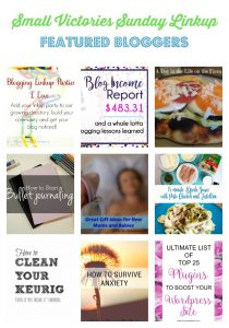 Small Victories Sunday Linkup {120} Featured Bloggers: 6 Reasons Why Link Parties are Worth Your Time + Link Party Directory from Mom's Small Victories, My Very First Blog Income Report from Carly On Purpose, Eggplant Piadina with Pesto Spread from A Day in the Life on the Farm, How to Start Bullet Journaling Video from The Krafty Owl, Great Gift Ideas for New Moms and Babies from The Mad Mommy, 15 minute Alfredo Sauce with Pesto Chicken and Tortellini from The Crafty Blog Stalker, How to Clean a Keurig from Housewife How-Tos, Tips to Survive Anxiety from Walking through the Pages, 25 Top Plugins to Boost Your WordPress Site from Pineapple & Main