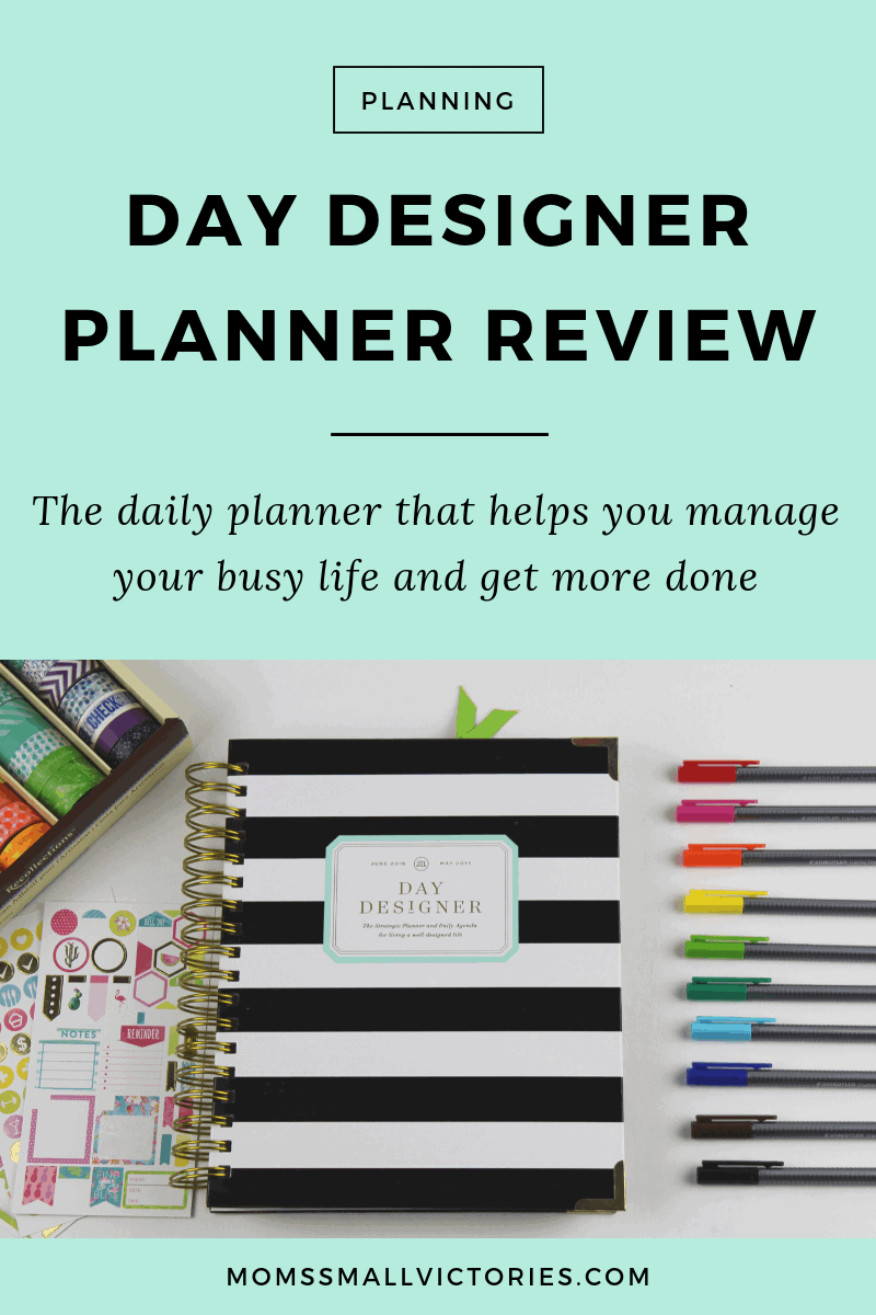day designer planner review: day designer planner cover, Staedler pens, box of washi tape and fun colorful stickers