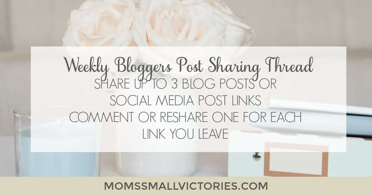Weekly Bloggers Post Sharing Thread. Share up to 3 blog posts or social media post links. Comment or reshare one for each link you leave. Let's help support our fellow bloggers and get our blogs noticed.