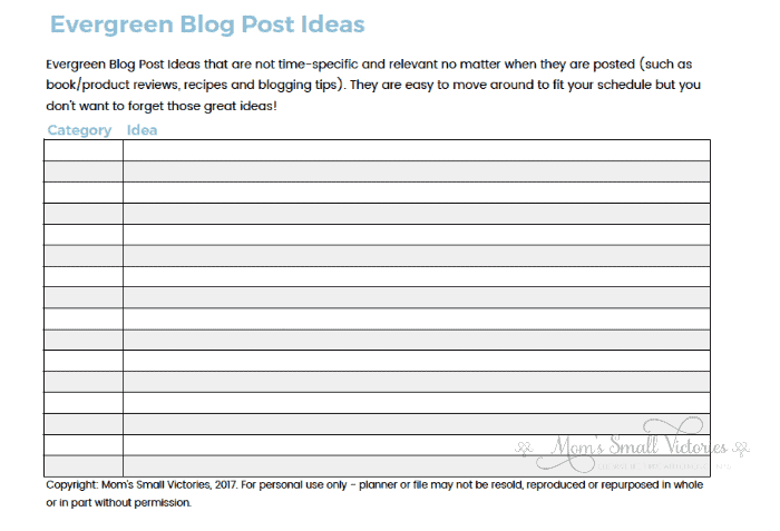 Evergreen Blog Post Ideas tracker included with the Ultimate Free Blog Planner You Need to Build a Successful Blog