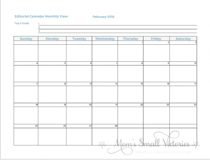 12 monthly editorial calendars are included in the Free 2018 Blog Planner where you can jot down your blog's goals, important dates or events or plan out when your blog posts are published.