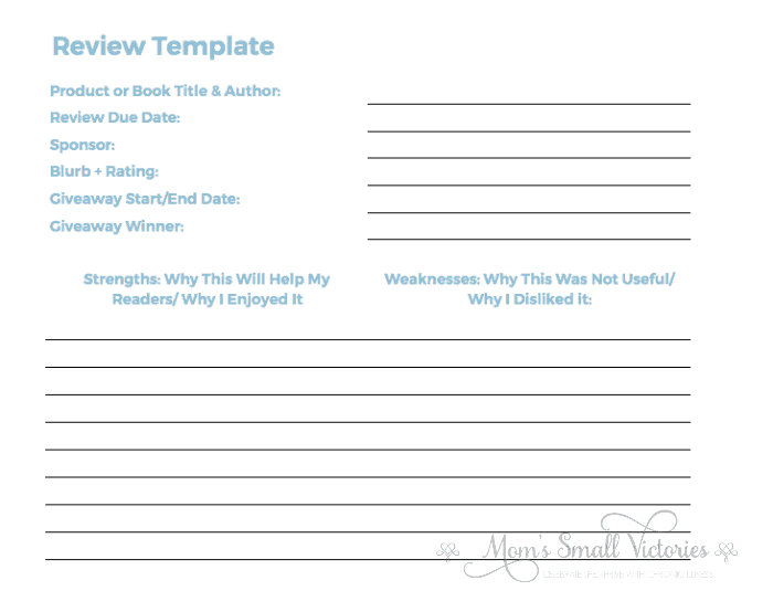 The review template is one of the customizable worksheets in the Ultimate Free Blog Planner You Need to Build a Successful blog