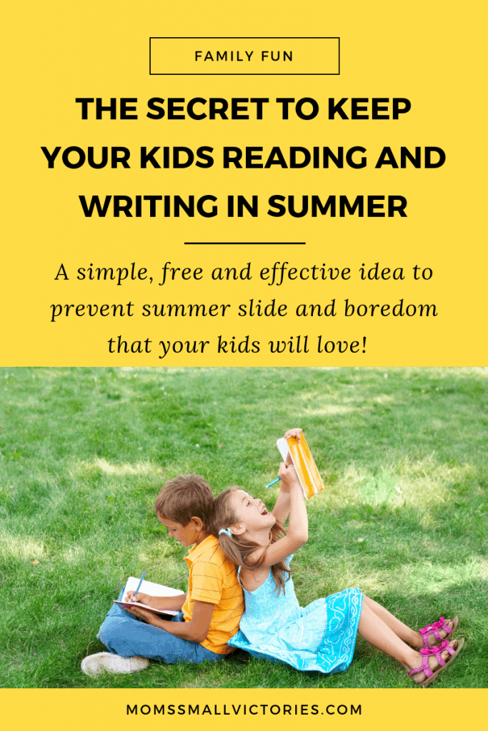 Snag this free, simple and effective secret to keep your kids reading and writing in summer while saving your sanity and curing summer boredom.