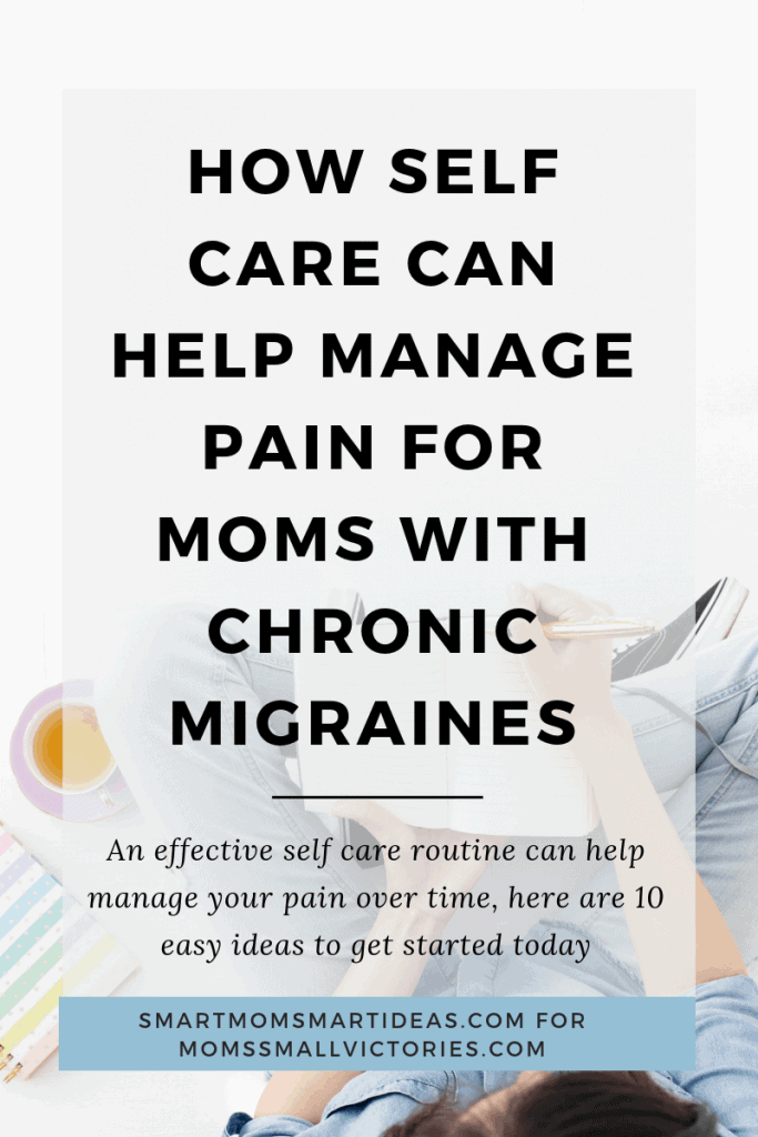 How Self Care Can Help Manage Pain for Moms with Chronic Illness. Image shows woman sitting and writing in a journal with a cup of tea beside her.