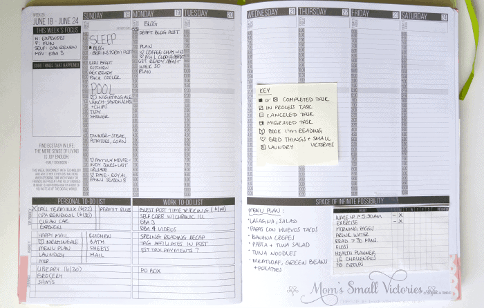 Time tracking in my Passion Planner. Each day, I use icons and write down when I start a particular task. It takes a few seconds to jot down how your time is spent but at the end of the week, you can learn what you need to do to boost your productivity.