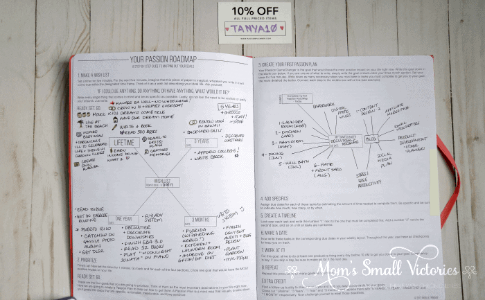 The roadmap in the Passion Planner helps you set your short term and long term goals.