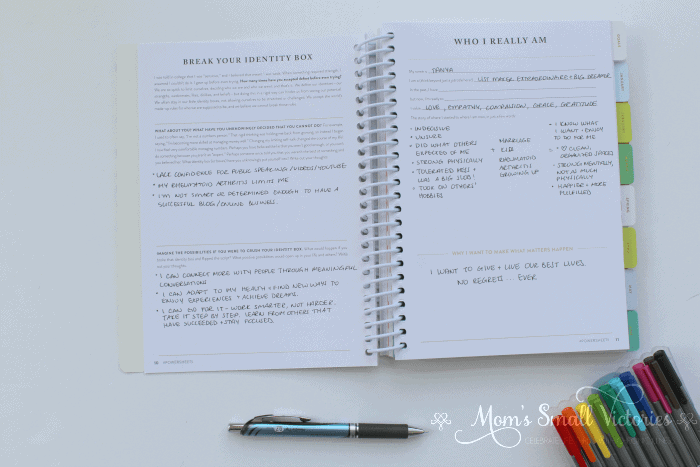 Powersheets review: Break Your Identity Box and Who I Really Am are some of the Powersheets prep work pages that helps you identify what's important to you so you can cultivate your most important goals and get them done.