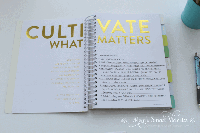Powersheets review: Cultivate What Matters is one of the Powersheets prep work pages that helps you identify what's important to you so you can cultivate your most important goals and get them done.