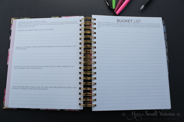 The Purposeful Planner Review: a big bucket list page to write down all your biggest bucket list goals.