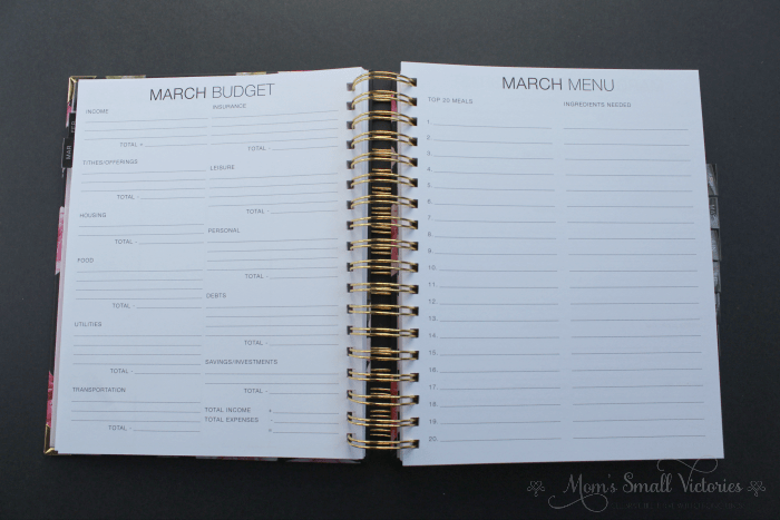 The Purposeful Planner Review: the monthly budget and menu planning pages are great for having a monthly overview of tracking your expenses and ingredients you'll need for your meals.