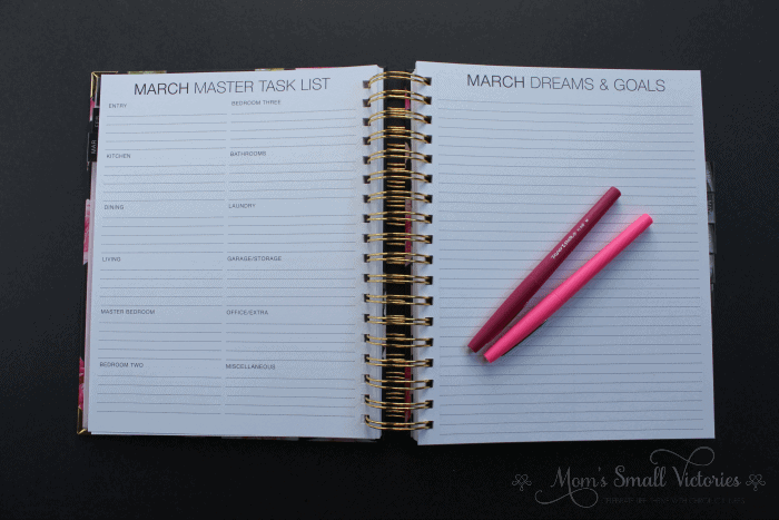 The Purposeful Planner Review: the monthly master task list is a great place to track your household cleaning, organizing, maintenance and decluttering schedule. The dreams and goals has plenty of space to write your big picture ideas that need to get done.
